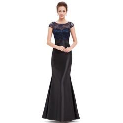 úplné černé dlouhé společenské šaty s rukávky Tina L