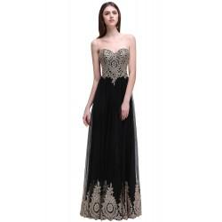 luxusní černé vyšívané dlouhé plesové šaty Tifanny S