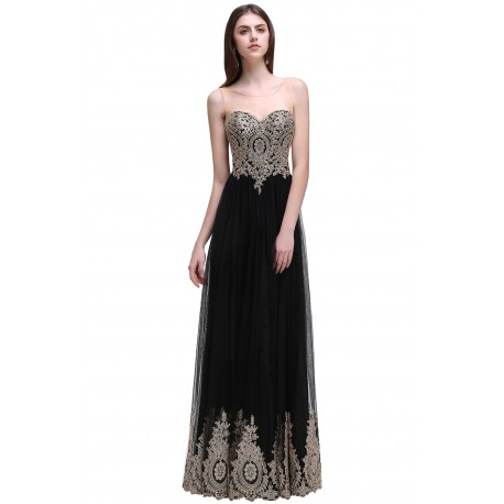 6523c731b75 luxusní černé vyšívané dlouhé plesové šaty Tifanny S - Hollywood ...