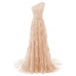 krémové champagne krajkové plesové šaty Linda XS-S