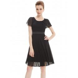 krátké černé společenské šaty s krátkými rukávky S