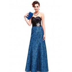 dlouhé modro-černé společenské šaty na ples Karin XS