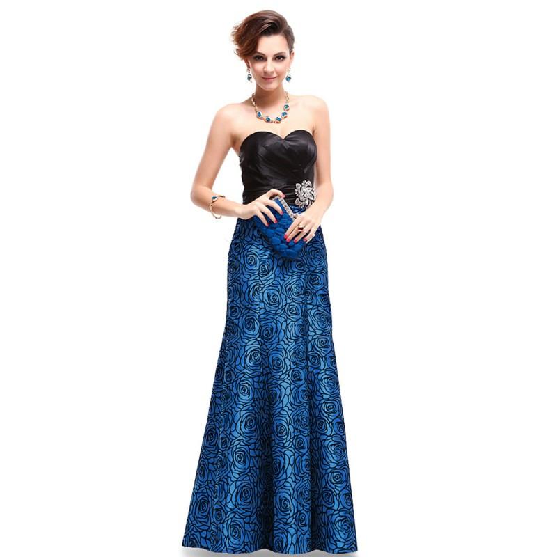 820b90fb6c62 Modré upnuté společenské šaty na ples se štrasobou ozdobnou