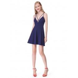 krátké tmavě modré společenské šaty s holými zády Annie S