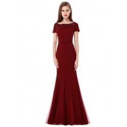 dlouhé vínové plesové šaty s rukávky Burgundy XS