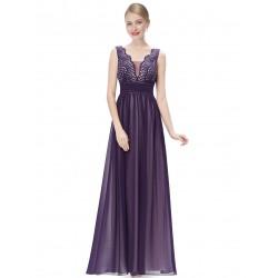 dlouhé fialové společenské šaty Keran XS