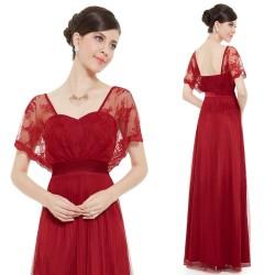 dlouhé červené společenské šaty s rukávky pro matku nevěsty Alyson XL