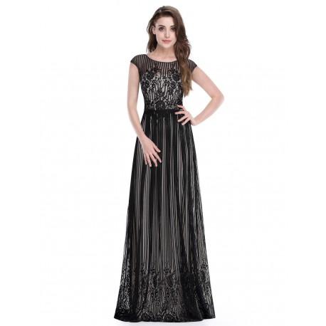 dlouhé černé krajkové společenské šaty s rukávky Satoe S