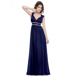 námořnicky modré dlouhé plesové šaty na ramínka Amanda XXL