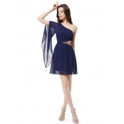 tmavě modré krátké společneské šaty na jedno rameno Gabriela S