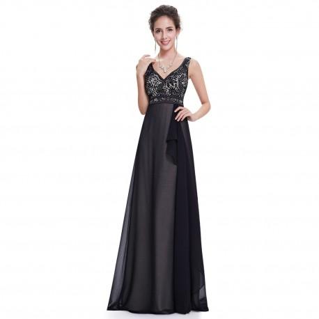jednoduché černé dlouhé společenské šaty na ramínka Anika XS