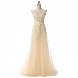 dlouhé champagne krajkované svatební šaty na ramínka Andromeda S