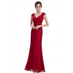 červené dlouhé krajkové společenské šaty na ramínka Adele XS