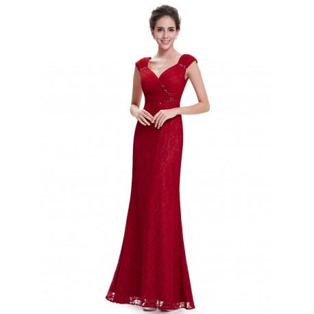 c33a67bd491 Výprodej! červené dlouhé krajkové společenské šaty na ramínka Adele XS