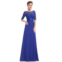 dlouhé modré společenské šaty pro matku nevěsty Tina S