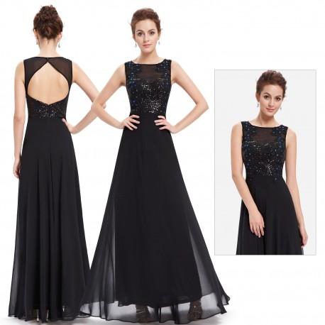 jednoduché dlouhé černé společenské šaty s holými zády Katy S