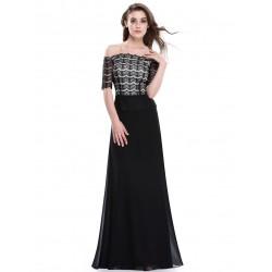 dlouhé černé elegantní společenské šaty s rukávky pro matku nevěsty Gobi M
