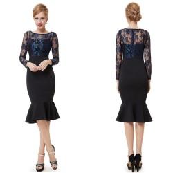 krátké elegantní černé společenské šaty s rukávky Magda M