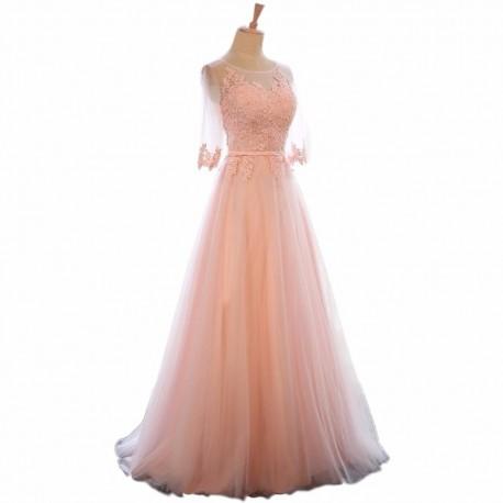 ef603129c1d světle růžové dlouhé plesové společenské šaty s rukávky Ariana XS-S ...