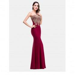 červené vínové plesové šaty se zlatým zdobením Linda S-M