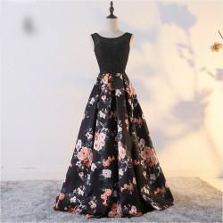 dlouhé plesové černé společenské šaty s květovanou sukní Alyce S-M