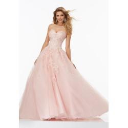 světle růžové maturitní plesové šaty krajkové Adele XS-S