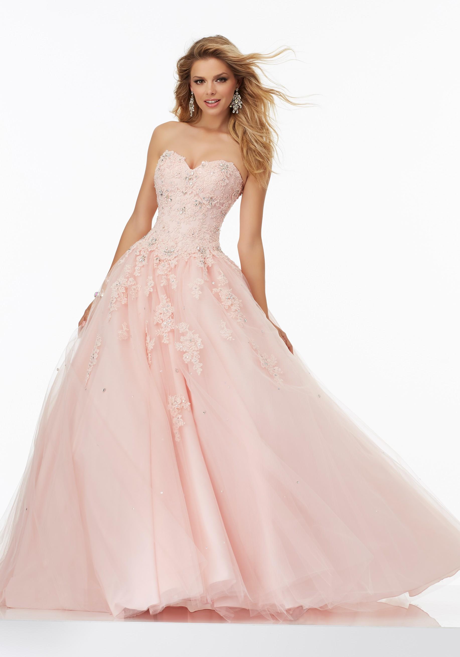Světle růžové plesové šaty na maturitní ples - bohaté společenské šaty d316b6f9d0