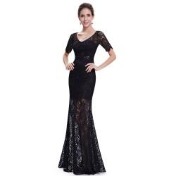 dlouhé černé krajkové plesové společenské šaty Anita S