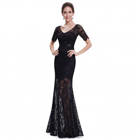 875c7a039f8 dlouhé černé krajkové plesové společenské šaty Anita S - Hollywood ...