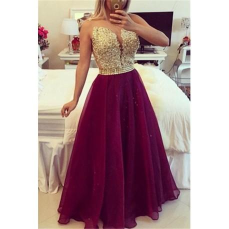 dlouhé splívané plesové vínové šaty Leroy XS
