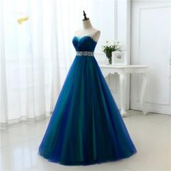 překrásné zelené modré tylové plesové šaty Anita XS-S