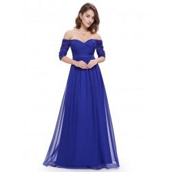 dlouhé modré plesové nebo společenské šaty s rukávky Lota S