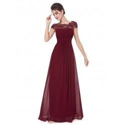 dlouhé červené vínové společenské šaty s krajkovým živůtkem M