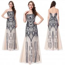 luxusní dlouhé plesové šaty krémové s černým zdobením Lerona M-L