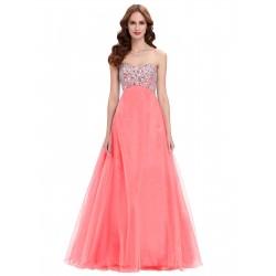 dlouhé plesové lososové šaty na maturitní ples Amanda XL-XXL