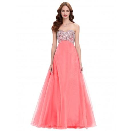 57bd07e34d43 dlouhé plesové lososové šaty na maturitní ples Amanda XL-XXL