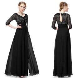 dlouhé černé společenské šaty s rukávky Donna S
