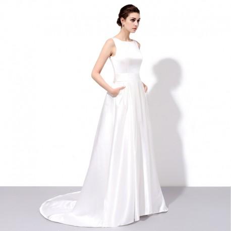 hladké krémové saténové svatební šaty Tina M-L