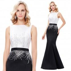 luxusní upnuté černo-bílé plesové šaty Fatimaya S-M