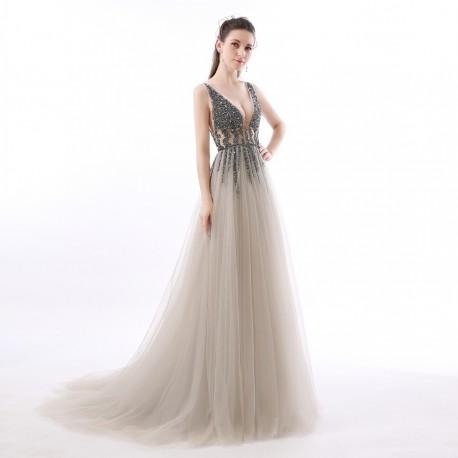 luxusní sexy tylové plesové šaty s rozparkem Alicia XS