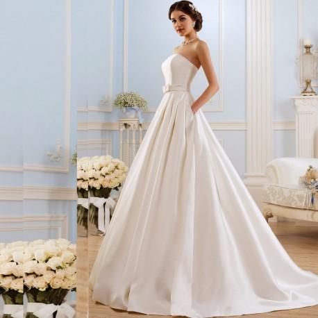 hladké bílé svatební saténové šaty Madley XS-S