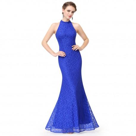 safírově modré dlouhé společenské šaty kolem krku Endy M