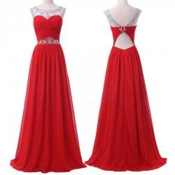 luxusní plesové dlouhé červené šaty na ramínka Fatty M