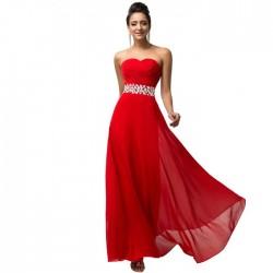 jednoduché dlouhé červené společenské šaty Alicia XS-S