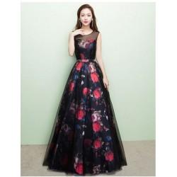 dlouhé černé plesové květované maturitní šaty Madeira 2018 XS-S