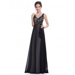 černé dlouhé společenské šaty na ramínka Ebony XS