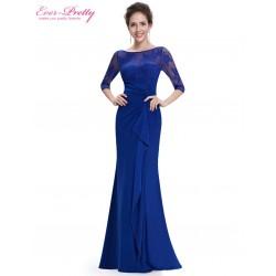 safírově modré dlouhé společenské šaty s rukávky Luisiana XS