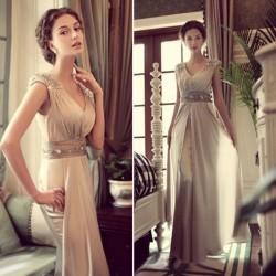 luxusní dlouhé šedivé plesové šaty na ramínka Donatella XS-S