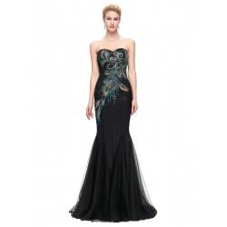 luxusní paví upnuté černé plesové šaty Violece M-L
