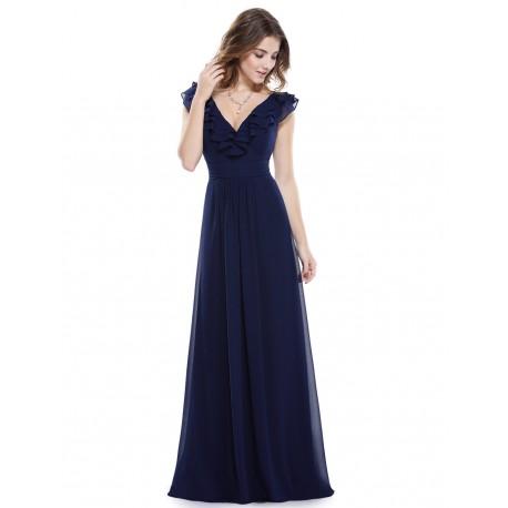 d5e99ff8b3e krásné dlouhé tmavě modré společenské šaty na ramínka Penny L ...